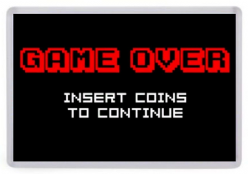 Game Over Insert Coin Fridge Magnet. Arcade Memorabilia